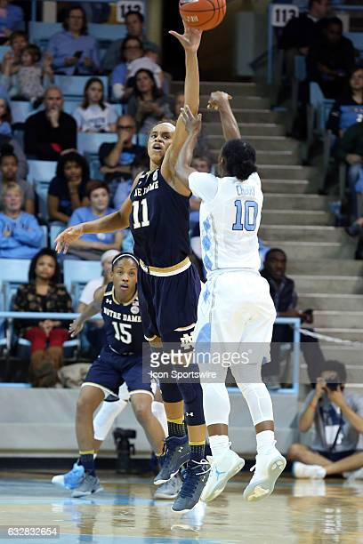 Notre Dame's Brianna Turner blocks a shot by North Carolina's Jamie Cherry The University of North Carolina Tar Heels hosted the University of Notre...