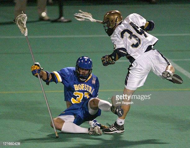 Notre Dame's Jim Morrison fires on net against Hofstra at Harvard University's Jordan Field during The Algonquin Cup College Lacrosse Invitational...