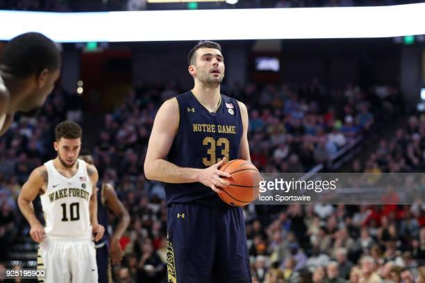 Notre Dame's John Mooney during the Wake Forest Demon Deacons game versus the Notre Dame Fighting Irish on February 24 at Lawrence Joel Veterans...