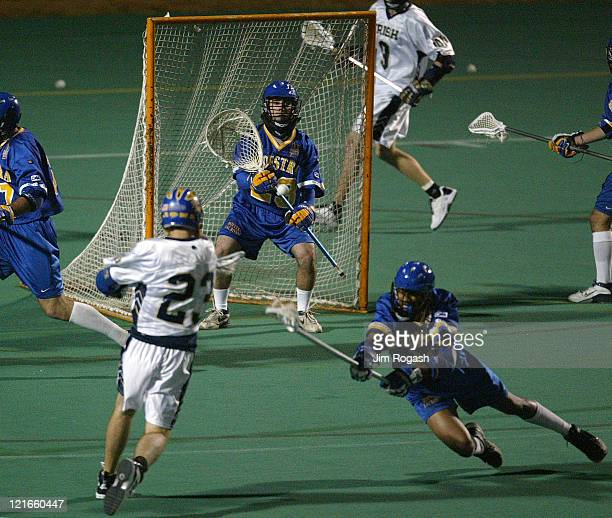 Notre Dame's Ryan Cunn left fires on Hofstra's goalie Matthew Southard and by a Hofstra defender right at Harvard University's Jordan Field during...