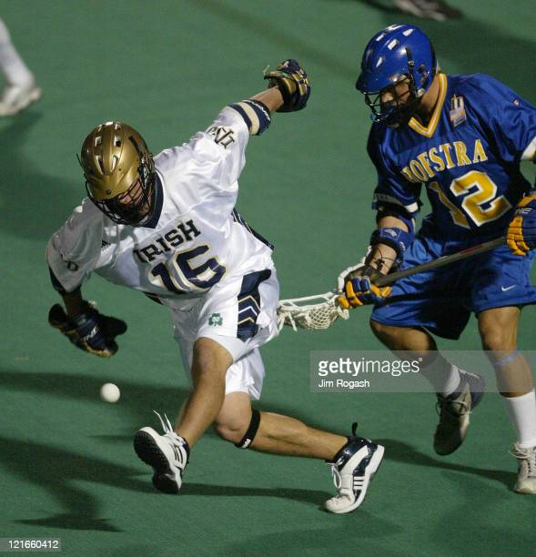 Notre Dame's Steve Panos left loses possession of the ball and his stick under the pressure of Hofstra's Keith Mekeel at Harvard University's Jordan...