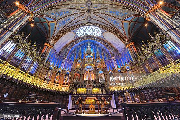 notre-dame basilica in montreal - notre dame de montreal stock photos and pictures