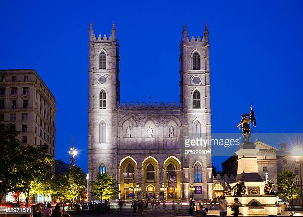 notre-dame basilica in montreal, quebec - notre dame de montreal stock photos and pictures