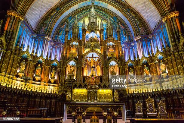 notre-dame basilica of montreal - notre dame de montreal stock photos and pictures