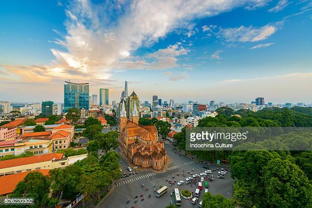 Notre-Dame Cathedral Basilica of Saigon in the beautiful evening