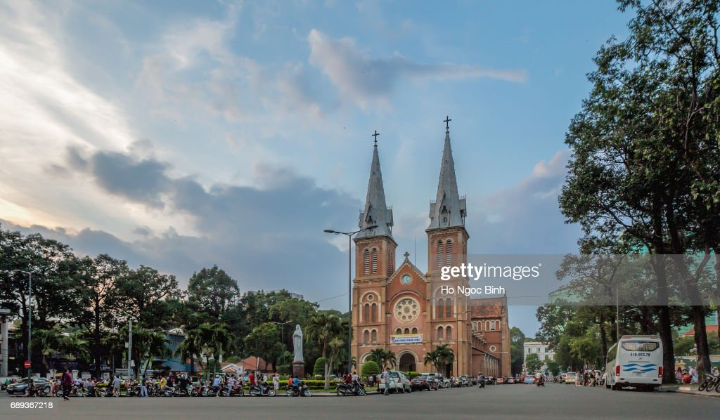 Notre-Dame Cathedral Basilica of Saigon, officially Cathedral Basilica of Our Lady of The Immaculate Conception is a cathedral located in the downtown of Ho Chi Minh City, Vietnam : Stock Photo