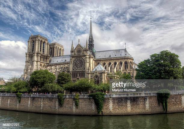 Notre-Dame Cathedral close up and Seine River