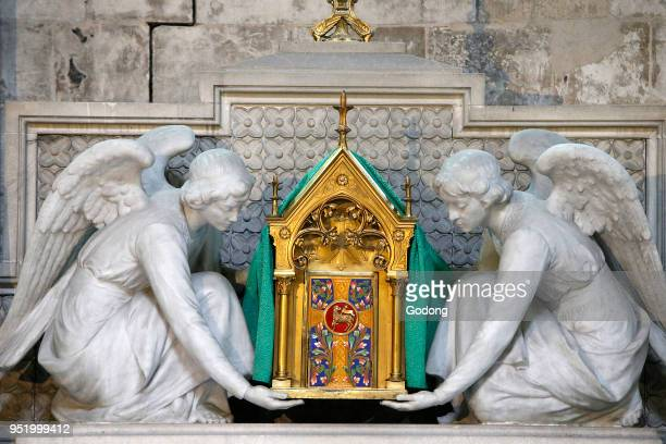 NotreDame cathedral Rouen Angels holding a reliquary