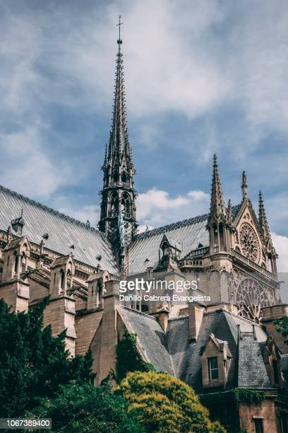 notre-dame cathedral spire - spire stock pictures, royalty-free photos & images