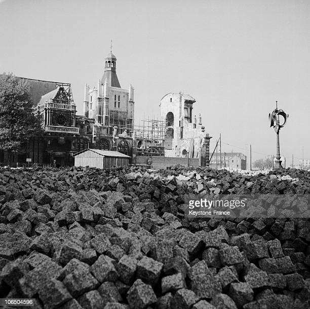 NotreDame Cathedral With Rubble All Around At Le Havre Town Center That Was Ravaged By English Bombing In 1944 Leaving 80000 People Homeless The...