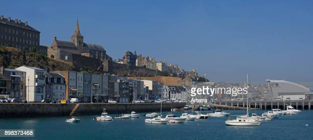 NotreDame church and harbour of the city Granville Manche Normandy France
