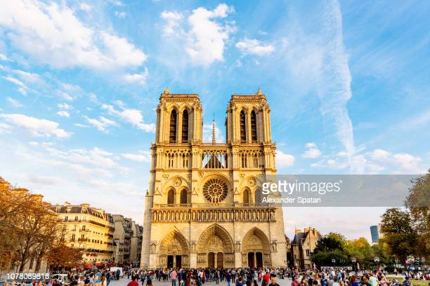 notre-dame de paris cathedral and paris skyline on a sunny day, paris, france - notre dame de paris stock photos and pictures