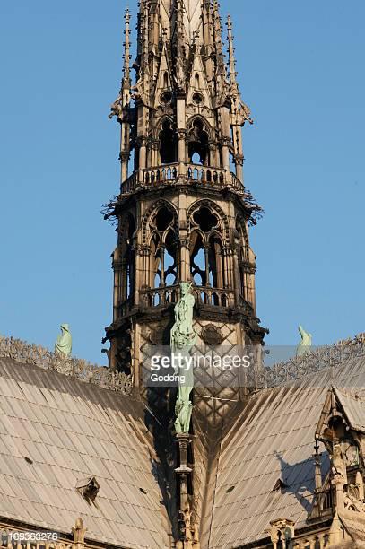 NotreDame de Paris cathedral spire base