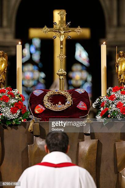 NotreDame de Paris cathedral The holy crown of thorns worn by Jesus Christ during the Passion