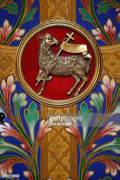 Notre-Dame de Rouen cathedral. Detail of a tabernacle. Agnus Dei.