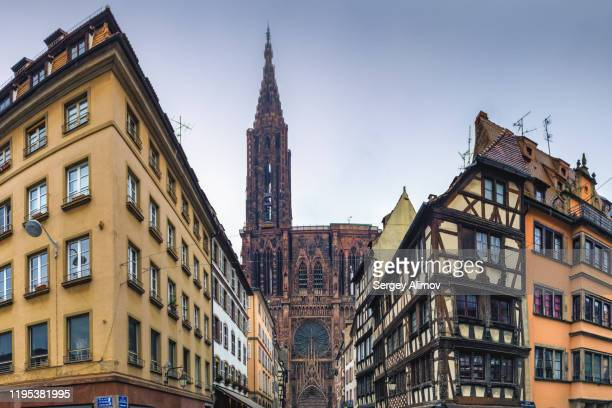notre-dame de strasbourg in architectural perspective of old town - council of europe stock pictures, royalty-free photos & images
