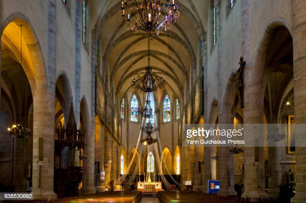 notre-dame et saint-privat cathedral, mende, lozere, languedoc roussillon, france - mende stock pictures, royalty-free photos & images