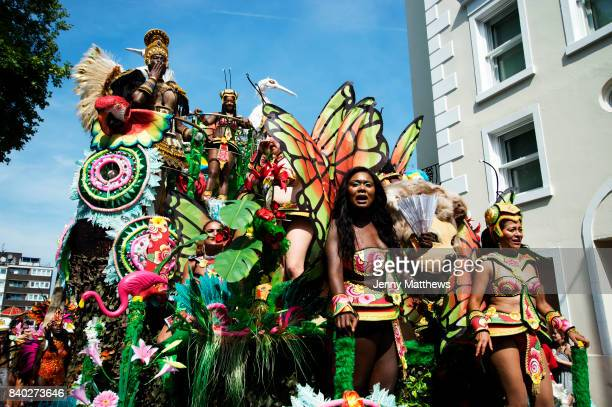 Notting Hill Carnival August 28th 2017 West London England Paraiso School of Samba float with an elaborate representation of Paradise