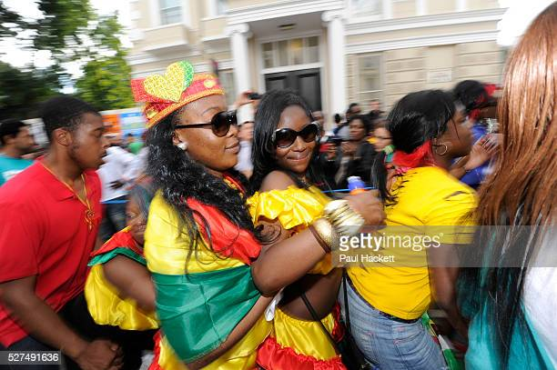 Notting Hill Carnival in West London A celebration of West Indian / Caribbean culture and Europe's largest street party festival and parade Revellers...