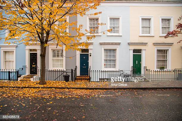 Notting Hill façades with pastel colors on autumn.