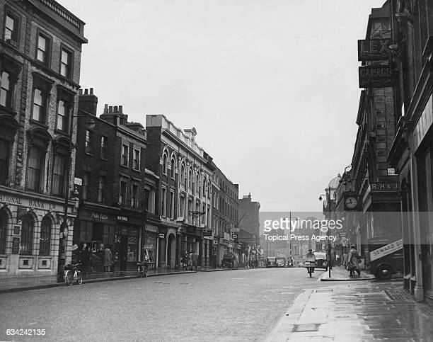 Notting Hill Gate looking east from Ladbroke Terrace 9th February 1955 The junction with Campden Hill Road is on the right