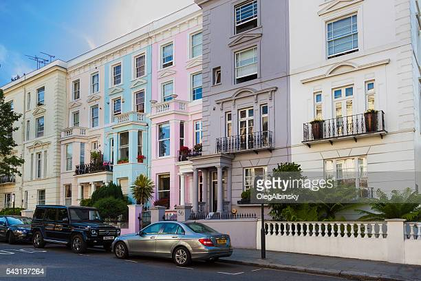 Notting Hill Street with Row Houses, London, England.