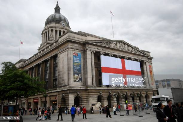 Nottingham City Council has unfurled what it believes could be the biggest St George's flag in the country in time for the start of the World Cup
