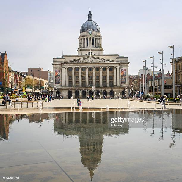nottingham council house or city hall in  old market square - nottingham stock photos and pictures