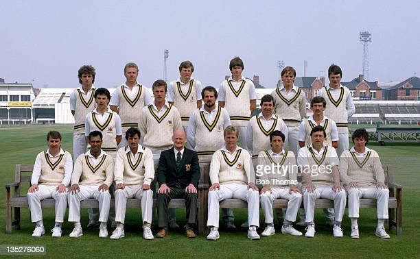 Nottingham County Cricket Club at Trent Bridge in Nottingham circa April 1984 Back row left to right Paul Johnson Andy Pick Peter Such Kevin Evans...