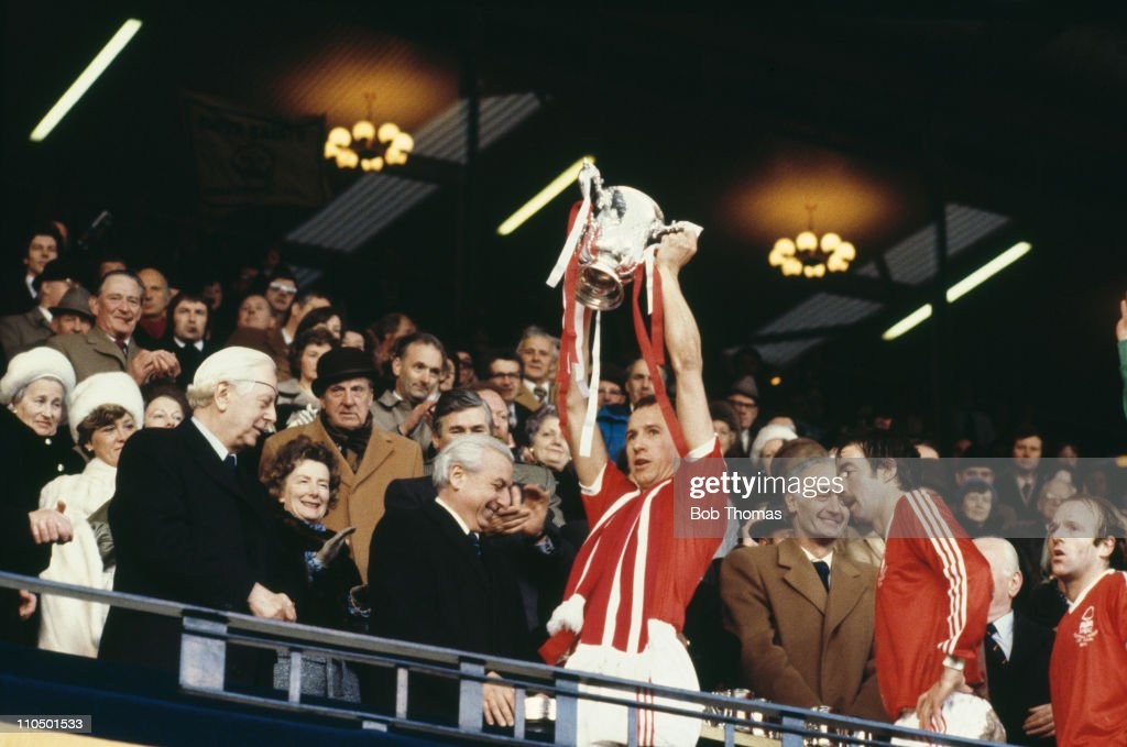 Nottingham Forest captain John McGovern with the trophy after his team beat Southampton 3-2 to win the Football League Cup, at Wembley Stadium, 17th March 1979.