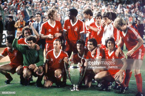 Nottingham Forest celebrate after winning their second successive European Cup Final