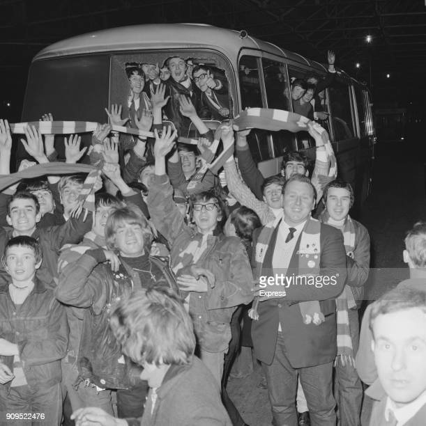 Nottingham Forest FC fans on a coach smashed up by rival fans from Southampton UK 9th December 1968