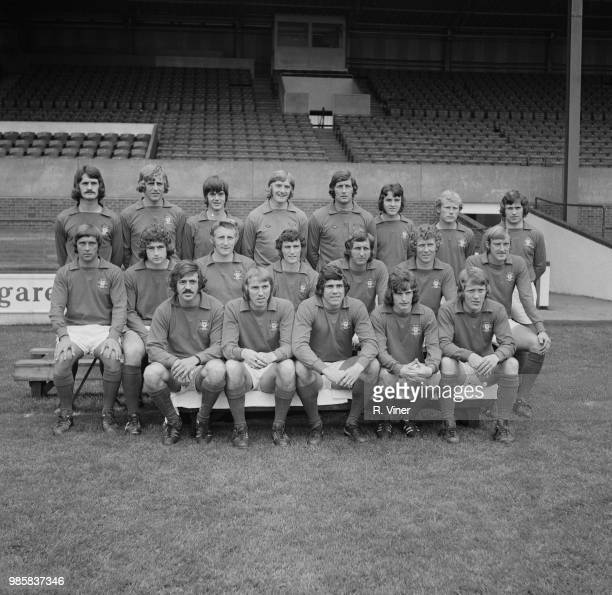 Nottingham Forest FC team squad players posed together on the pitch at City Ground stadium in Nottingham at the start of the 197273 football season...
