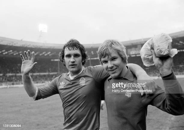 Nottingham Forest footballers Larry Lloyd and goalkeeper Chris Woods leave the field after the League Cup Final at Wembley Stadium on March 18, 1978...