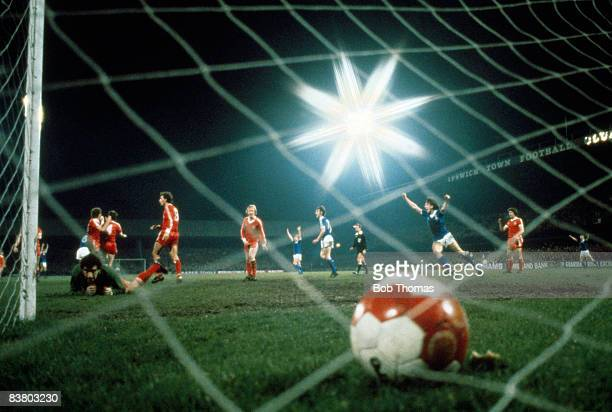 Nottingham Forest goalkeeper Peter Shilton looks up to see the ball in the back of his net for Ipswich Town's winning goal, scored by Arnold Muhren...