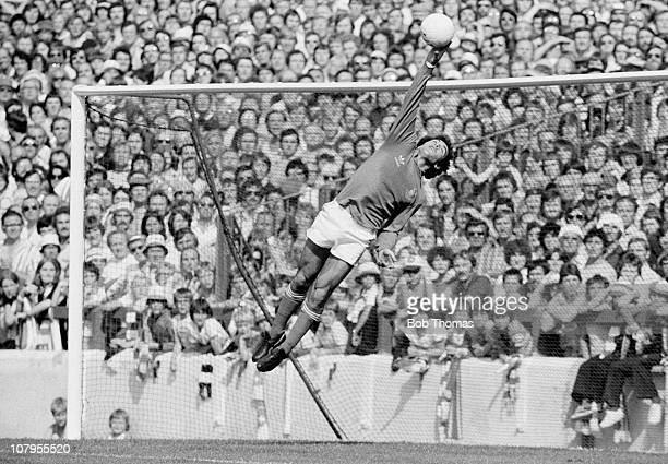 Nottingham Forest goalkeeper Peter Shilton saves during the First Division match against Tottenham Hotspur at the City Ground Nottingham on 19th...