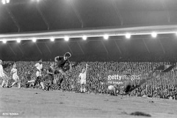 Nottingham Forest goalkeeper Peter Shilton saves from Liverpool's Terry McDermott watched by teammates Archie Gemmill Viv Anderson John McGovern and...