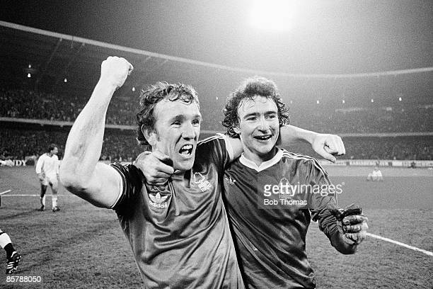 Nottingham Forest goalscorer Ian Bowyer celebrates with Martin O'Neill at the end of the European Cup SemiFinal 2nd leg against FC Cologne at the...