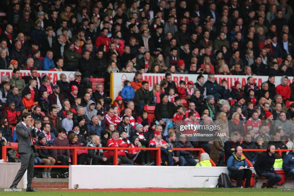 Nottingham Forest Head Coach/Manager Aitor Karanka during the Sky Bet Championship match between Nottingham Forest and Derby County at City Ground on March 11, 2018 in Nottingham, England.