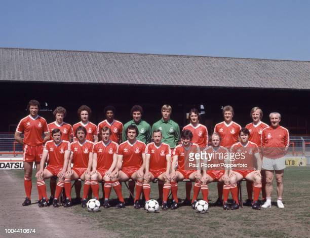 Nottingham Forest line up for a group photo at the City Ground in Nottingham England circa August 1979 Back row David Needham Tony Woodcock Martin...