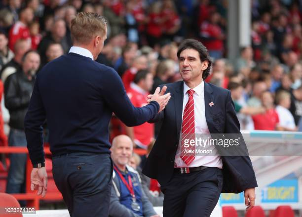 Nottingham Forest manager Aitor Karanka greets Birmingham City manager Gary Monk during the Sky Bet Championship match between Nottingham Forest and...