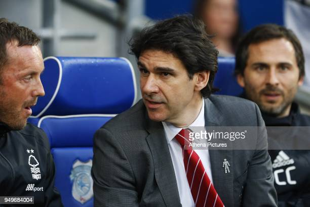 Nottingham Forest manager Aitor Karanka prior to the kick off of the Sky Bet Championship match between Cardiff City and Nottingham Forest at the...