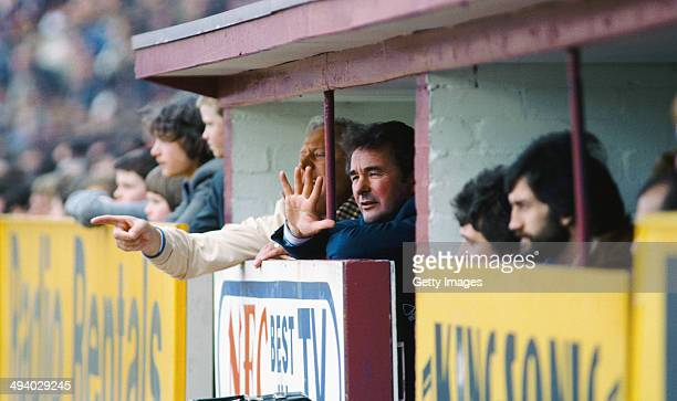Nottingham Forest manager Brian Clough and assistant Peter Taylor react during a League Division One Match between Aston Villa and Nottingham Forest...