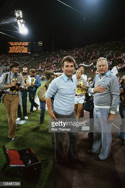 Nottingham Forest manager Brian Clough and his assistant Peter Taylor at the European Cup final at the Olympiastadion Munich 30th May 1979 Forest won...