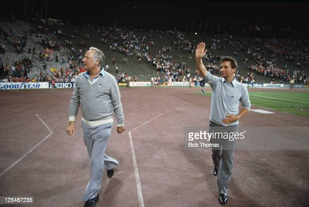 Nottingham Forest manager Brian Clough and his assistant Peter Taylor acknowledge the applause of supporters after the European Cup final at the...