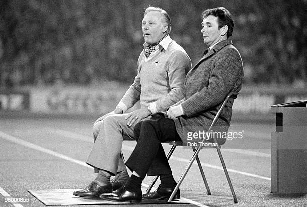 Nottingham Forest manager Brian Clough and his assistant Peter Taylor watching the European Cup SemiFinal 2nd leg between FC Cologne and Nottingham...