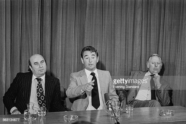 Nottingham Forest manager Brian Clough at a press conference with assistant manager Peter Taylor , 21st November 1980.