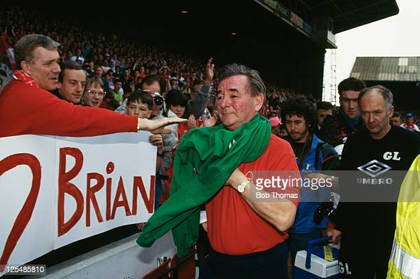 Nottingham Forest manager Brian Clough at the City Ground, Nottingham, for his last match before retirement, 1st May 1993. Forest lost 2-0 to...