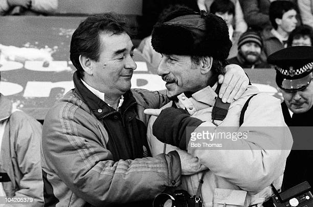 Nottingham Forest manager Brian Clough greets press photographer Monte Fresco before the Crystal Palace v Nottingham Forest FA Cup 3rd Round match...
