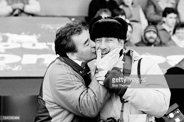Nottingham Forest manager Brian Clough kisses press photographer Monte Fresco before the Crystal Palace v Nottingham Forest FA Cup 3rd Round match...